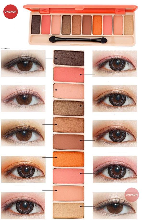 Phấn mắt LAMEILA Play Color Eyes tông cam đào 12 màu đẹp
