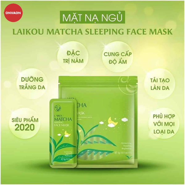 Mặt nạ ngủ trà xanh Laikou Matcha